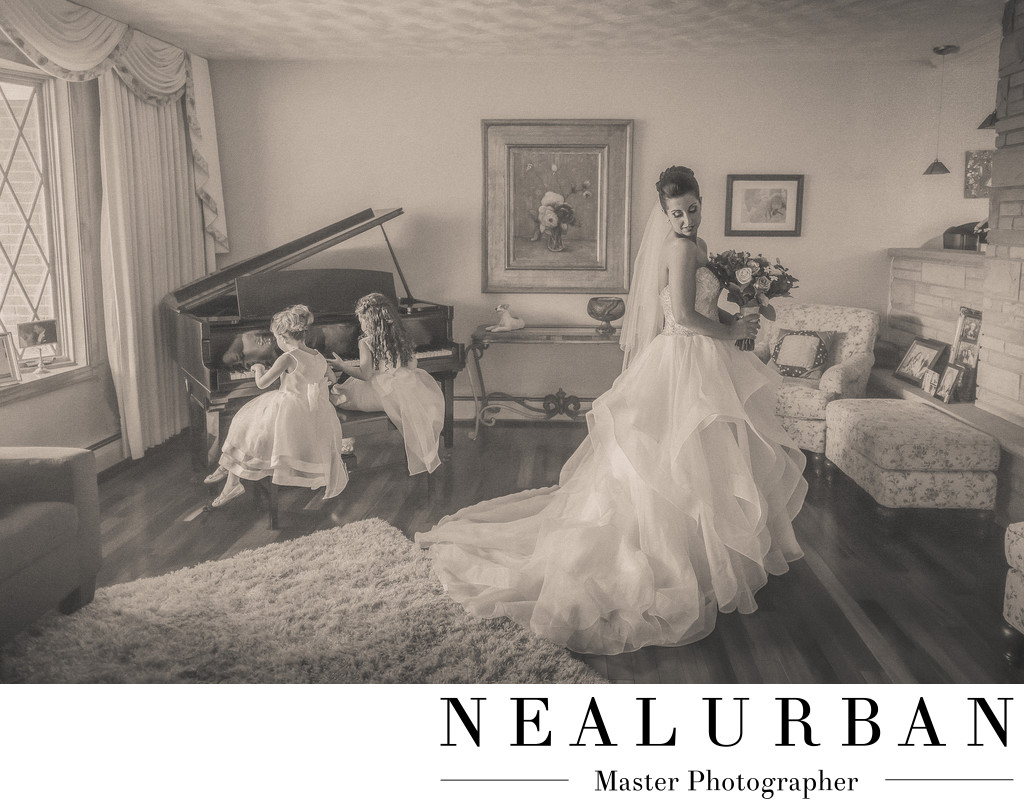 buffalo bride with flower girls in dresses playing piano