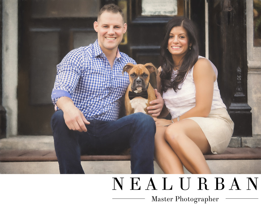 buffalo engagement photography with dog bowtie in clarence center