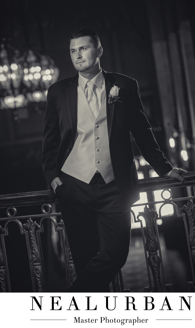 buffalo wedding photography at sheas with vintage groom tuxedo