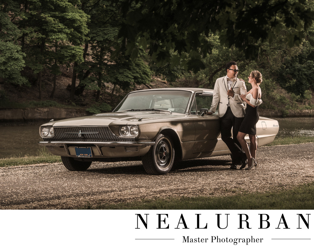Vintage Car Engagement Session at Lockport Locks