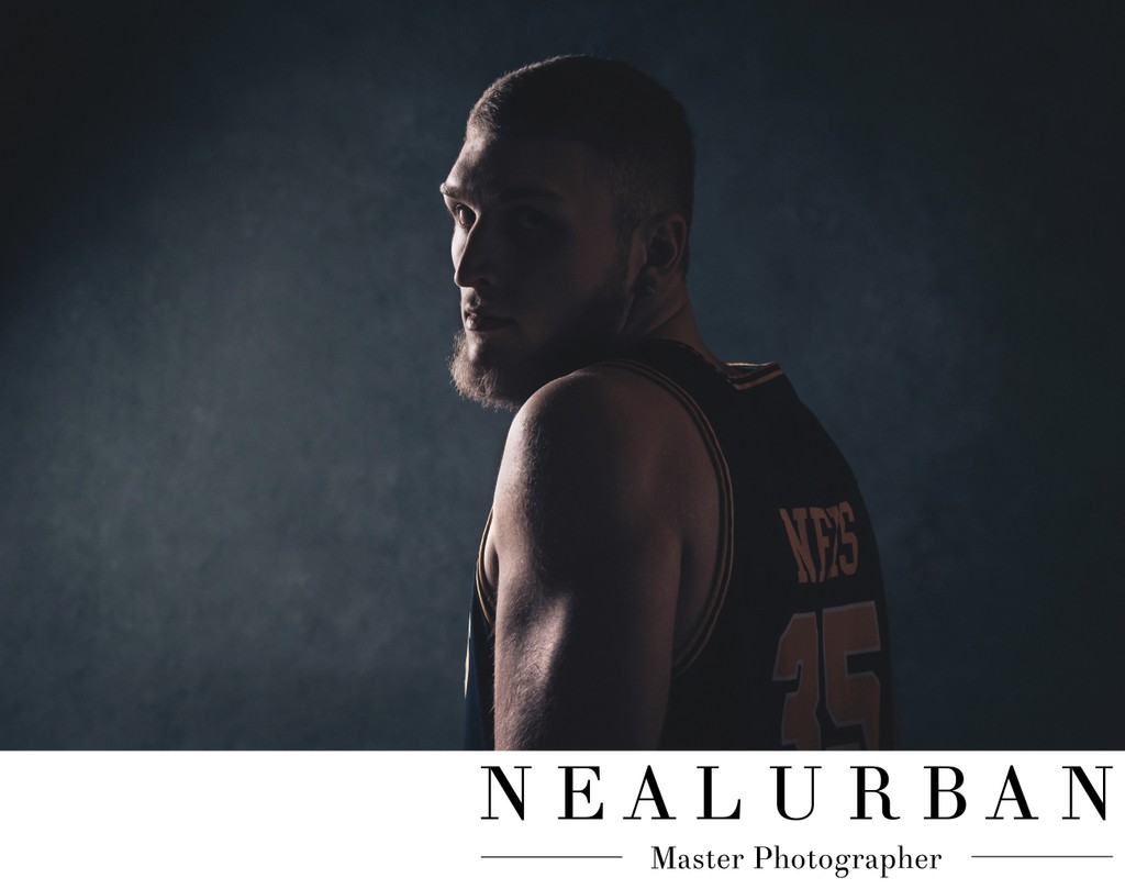 Dramatic High School Basketball Senior Portrait