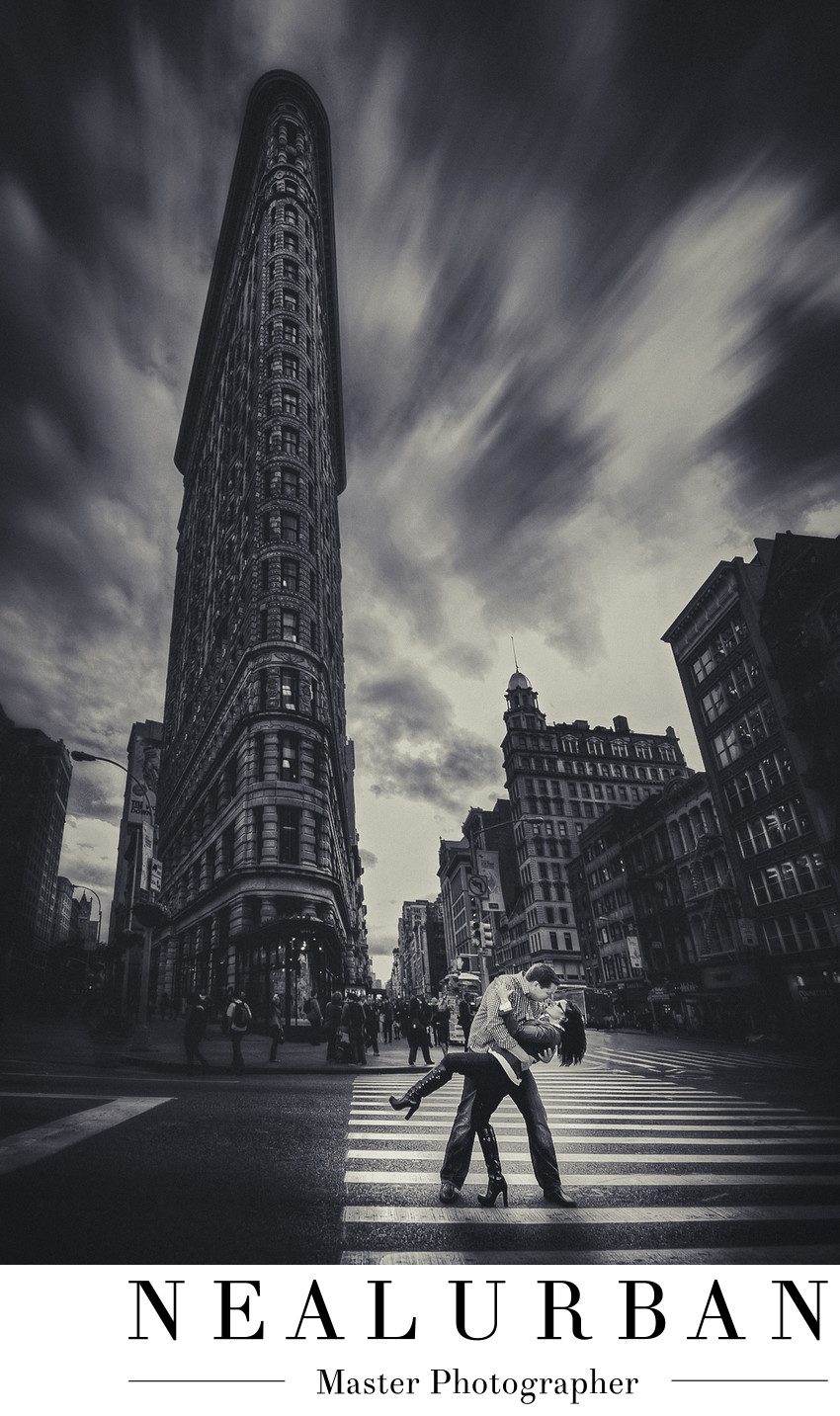 nyc engagement flat iron building destination photo