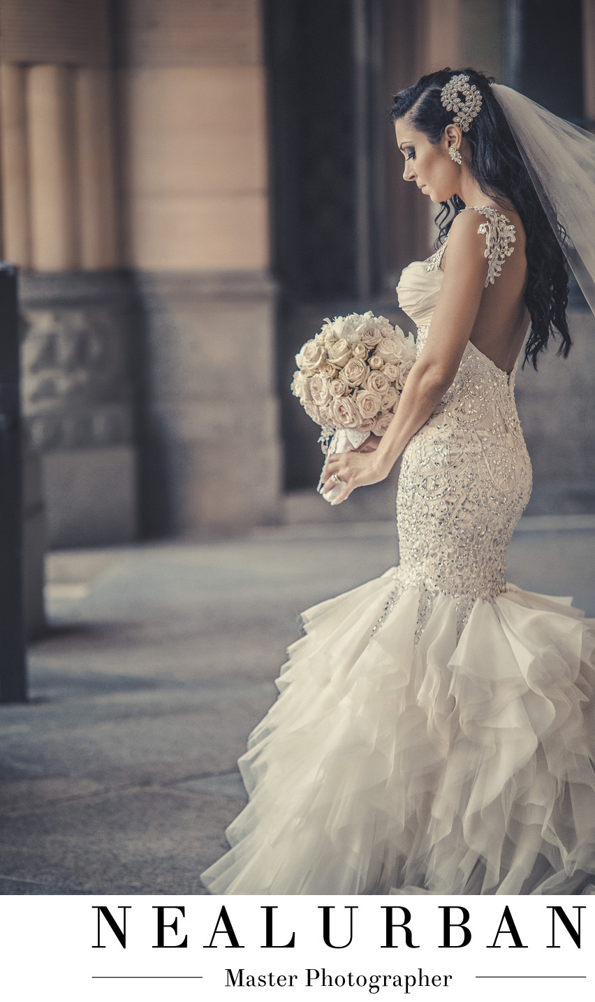 buffalo wedding city hall photography pillars bride dress