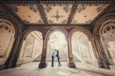 nyc wedding photographers central park stairs bridge