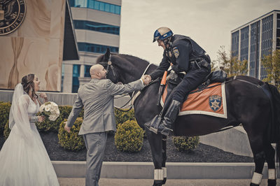 buffalo wedding city hall photography police horse hyatt