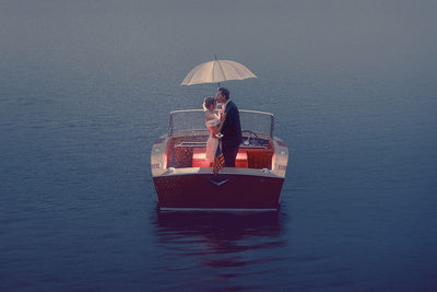 Engagement Session on a Boat in the Rain
