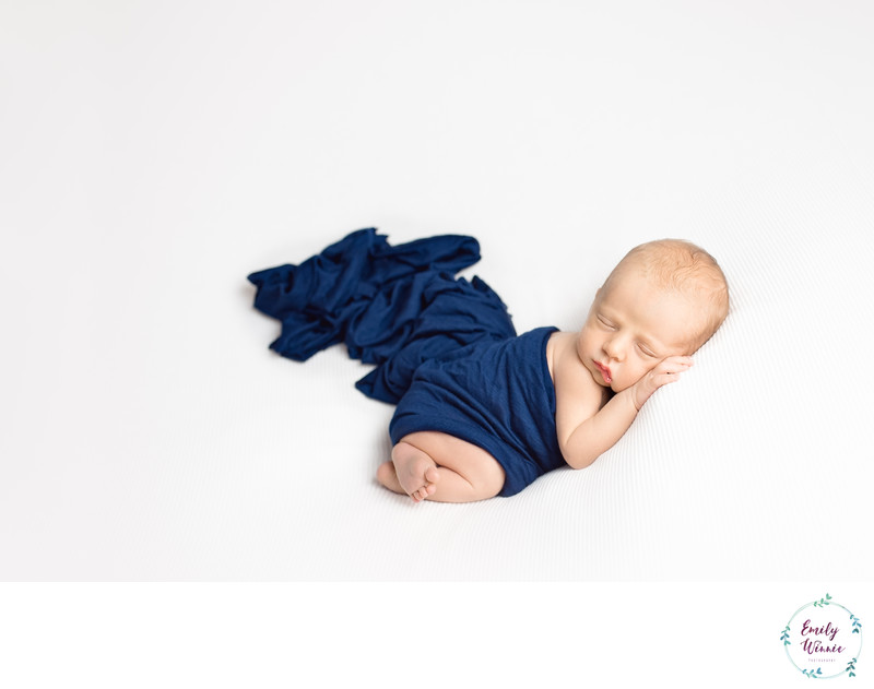 baby wrapped in blue-newborn photo session-Culver City