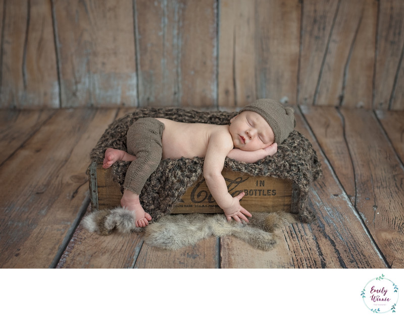 newborn in coca cola crate-Culver City newborn photos