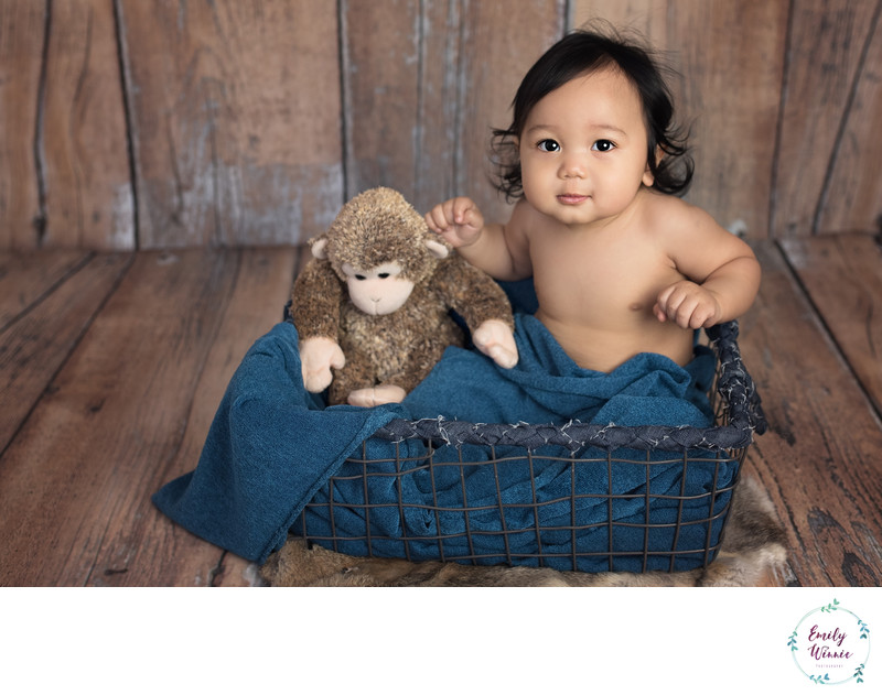 Baby with Monkey in basket-Culver city photography