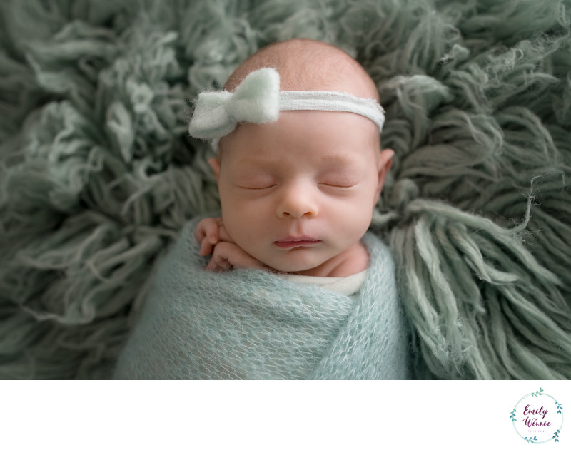 Emily Winnie Photography- Baby with Mint Bow