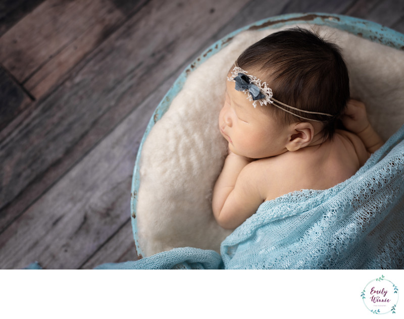 Emily Winnie Photography-Baby girl in blue bowl