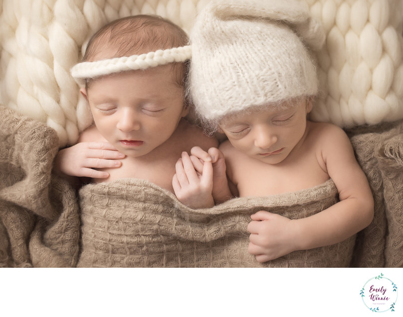 Emily Winnie Photography- Twin babies holding hands