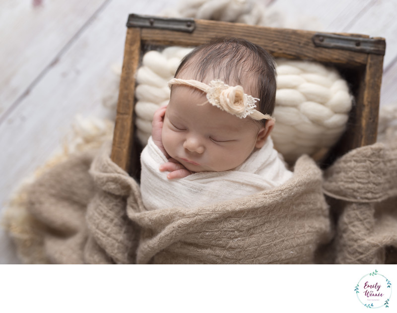 Emily Winnie Photography-Neutral Newborn in Crate