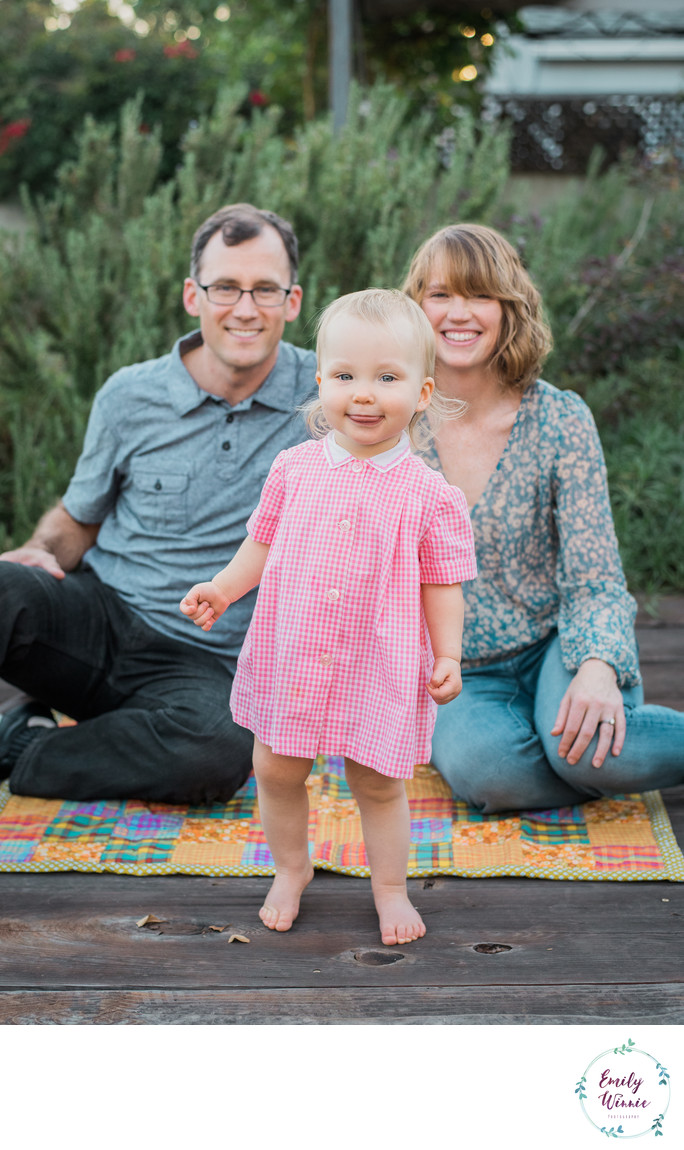 Family with toddler in backyard- Santa Monica, CA