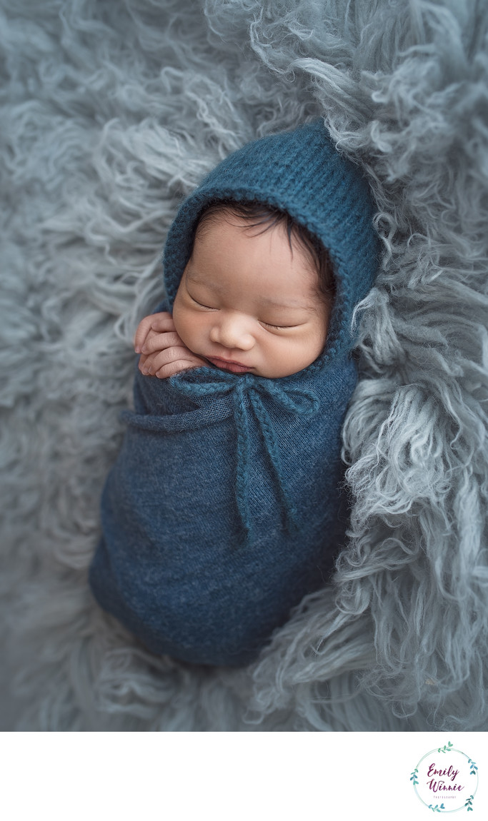 Emily Winnie Photography-Baby all snuggled up in blue