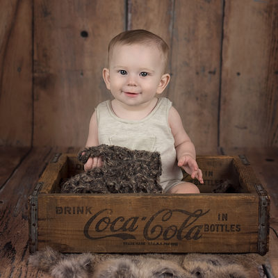 Baby in Coca Cola crate-Culver City baby photos