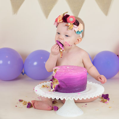 Los Angeles baby girl cake smash photos