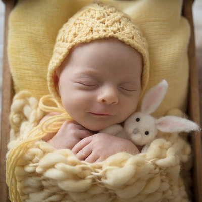Emily Winnie Photography- Smiling Baby with Bunny