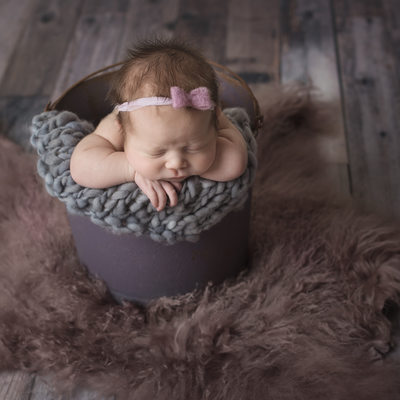 Emily Winnie Photography-Baby in Purple Bucket