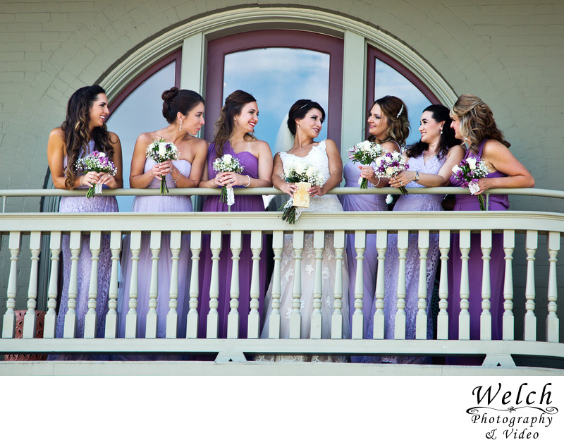 Bridesmaids on balcony Southern Hotel Covington LA