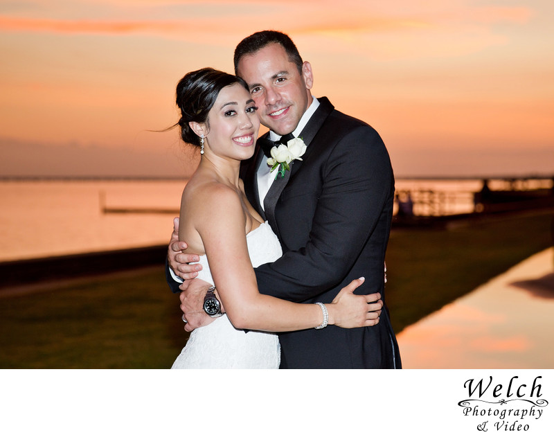Bride groom portrait sunset Mandeville Lakefront LA