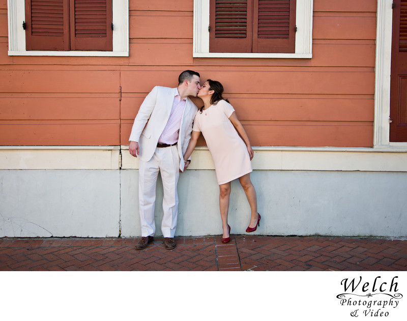 Engagement photo coral wall French Quarter New Orleans