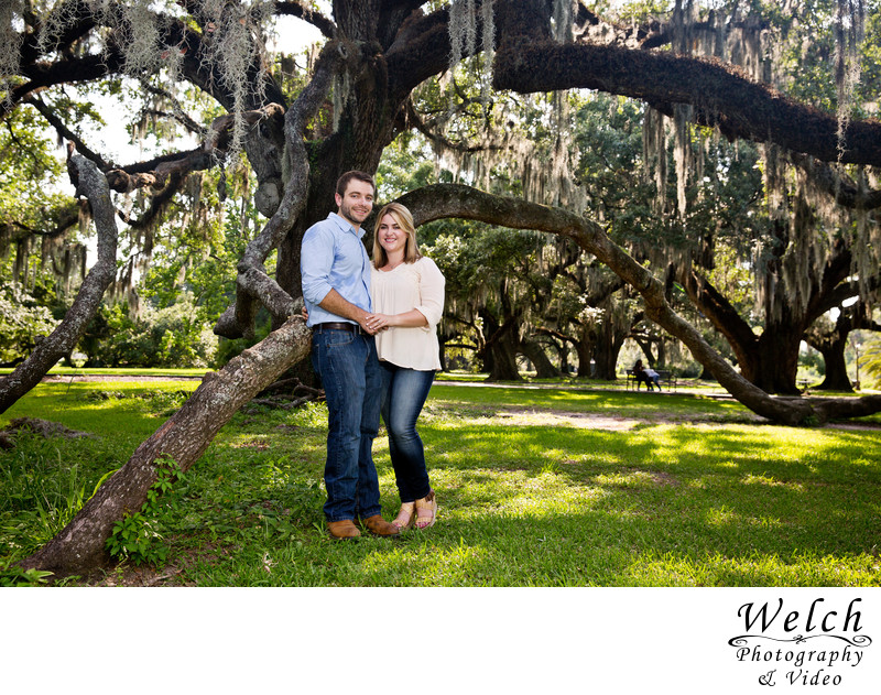 Engagement portrait City Park New Orleans LA