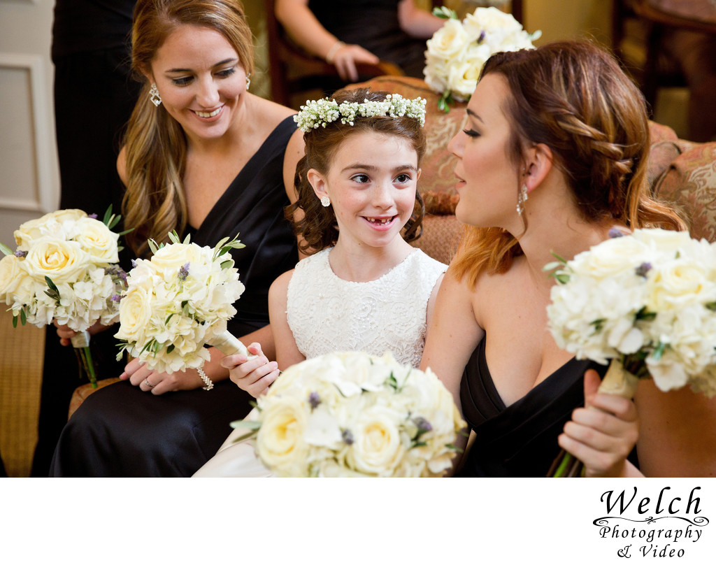 Flower Girl and Bridesmaids with flowers