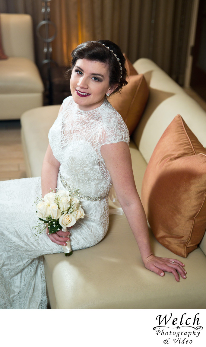 Bridal portrait couch Southern Oaks New Orleans LA