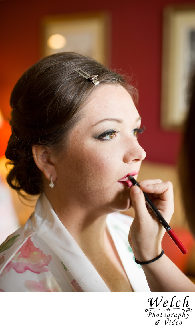 Bride getting makeup , New Orleans, Louisiana