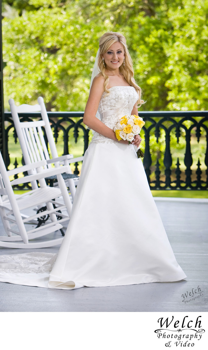 Bride Nottoway Plantation porch portrait Louisiana