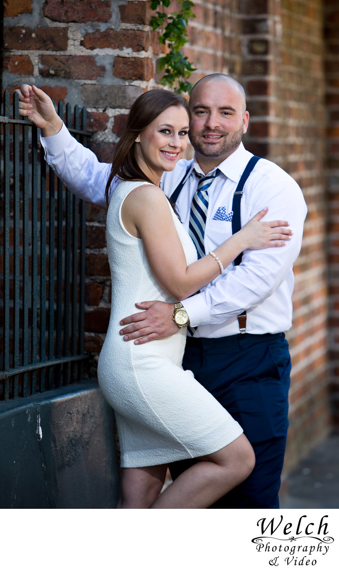 Engagement portrait brick French Quarter New Orleans