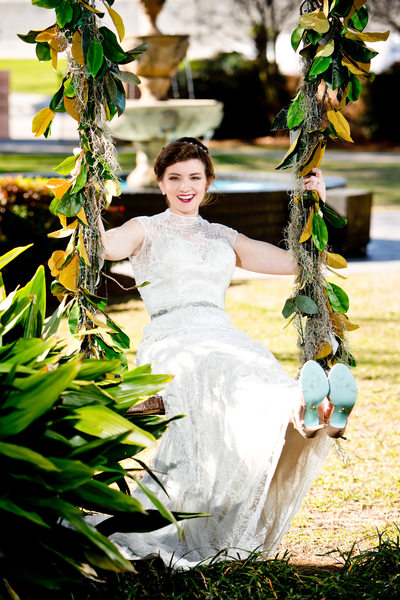 Bride on swing Southern Oaks Plantation New Orleans LA