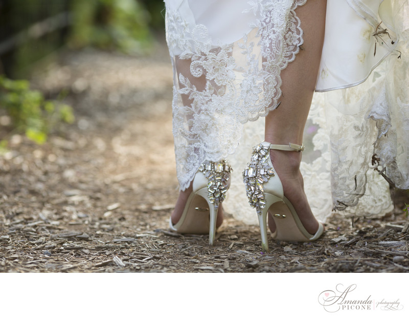 Bride wears sparkly wedding shoes at NY Botanical Garden