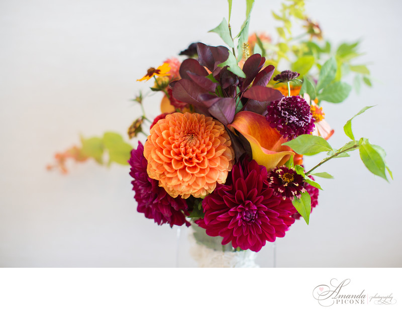 Dahlia and wildflower bouquet for Brooklyn wedding MyMoon