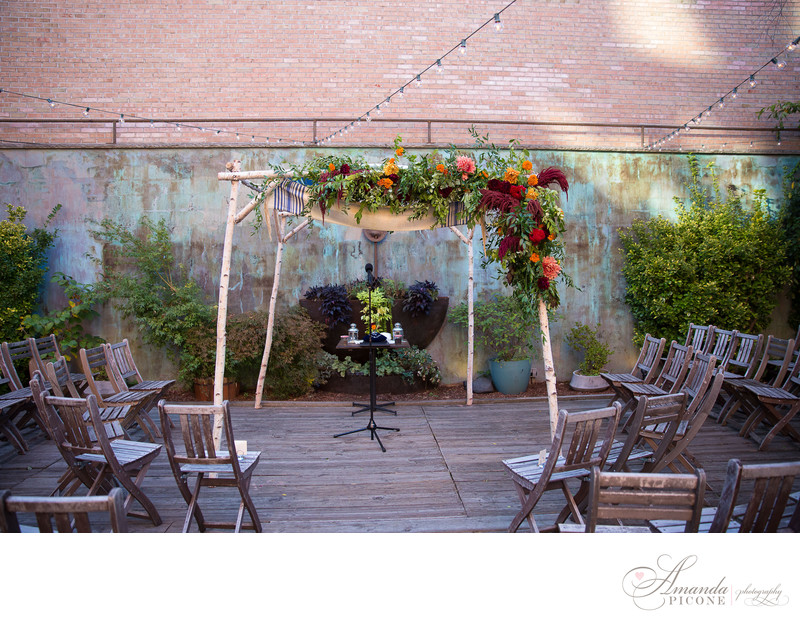 Wedding chuppah at MyMoon Brooklyn for Jewish ceremony
