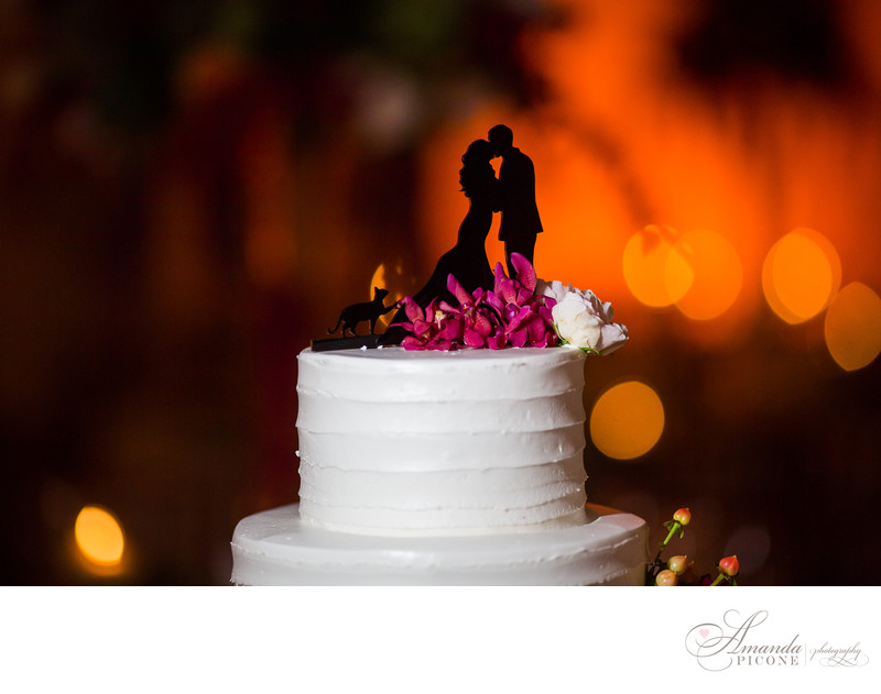 Wedding cake topper silhouette with cat
