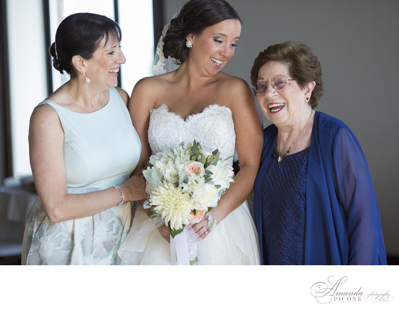 Bride with mom and grandma before wedding Liberty Warehouse