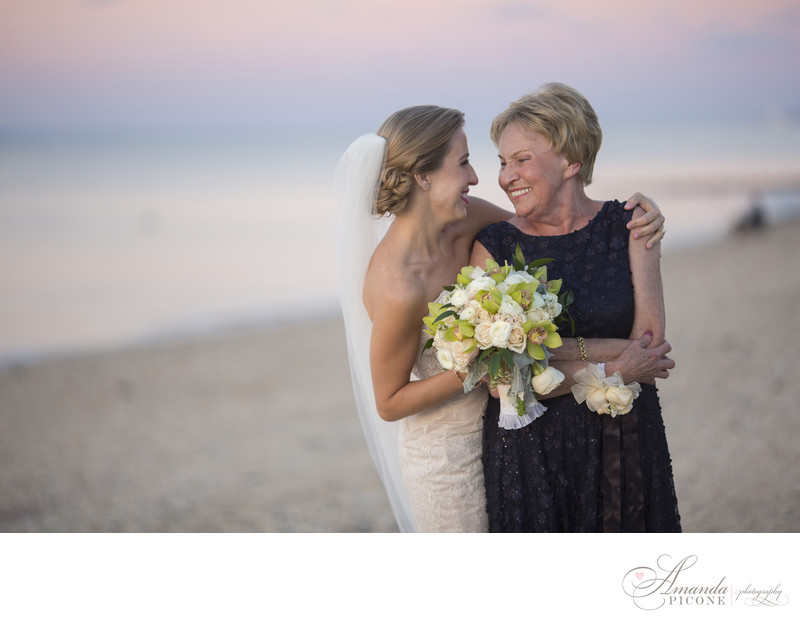 Bride and mom at sunset Crescent Beach Club Long Island