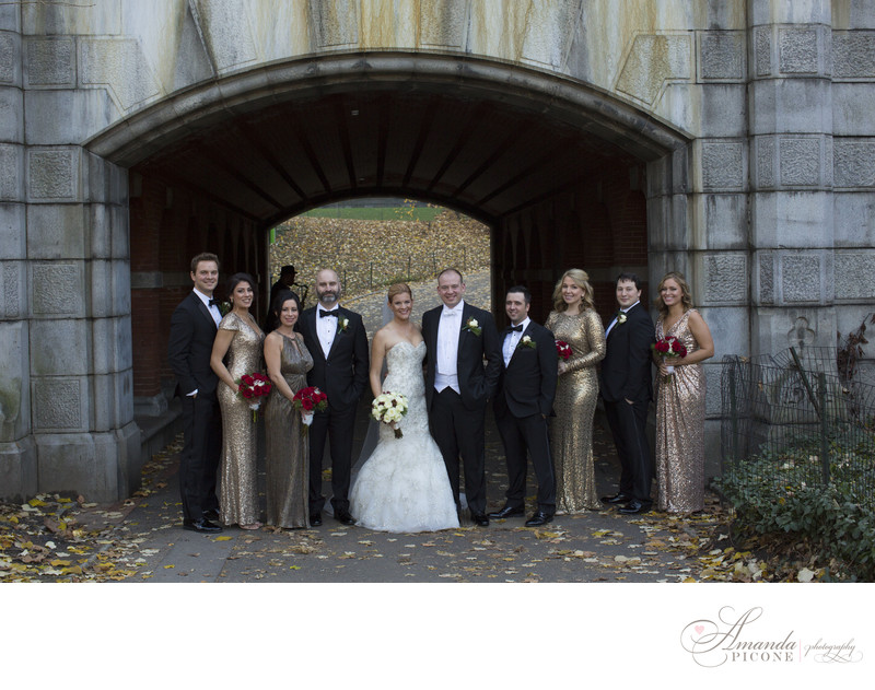 Gold sequin wedding party in Central Park NYC