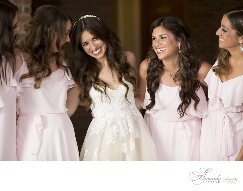 Bride and bridesmaids at Temple Sinai Long Island