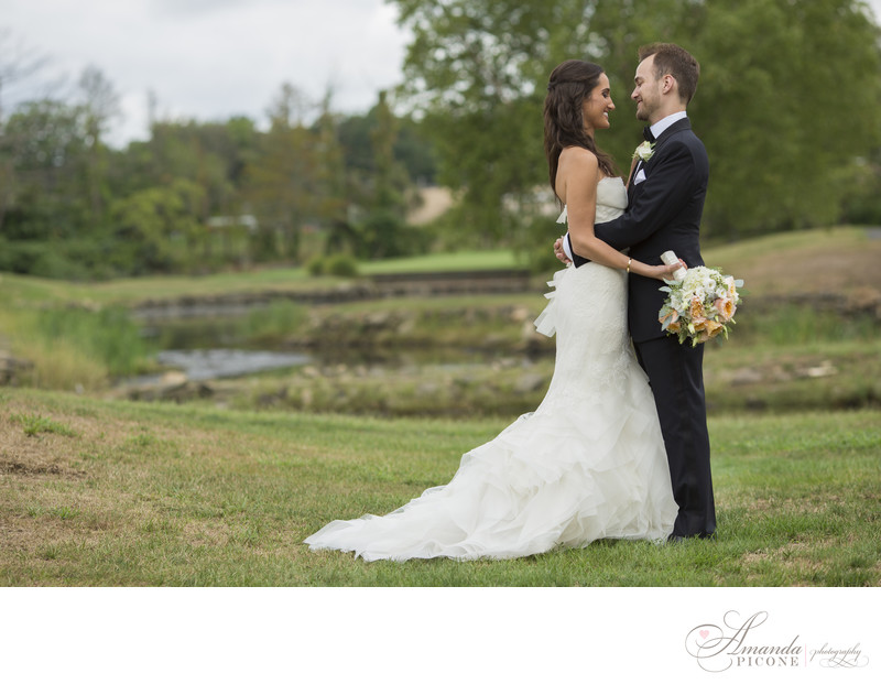 Bride and groom before wedding at Hampshire Country Club