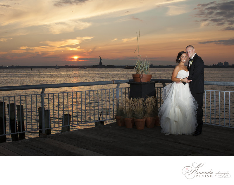 Bride and groom at sunset at Liberty Warehouse Brooklyn