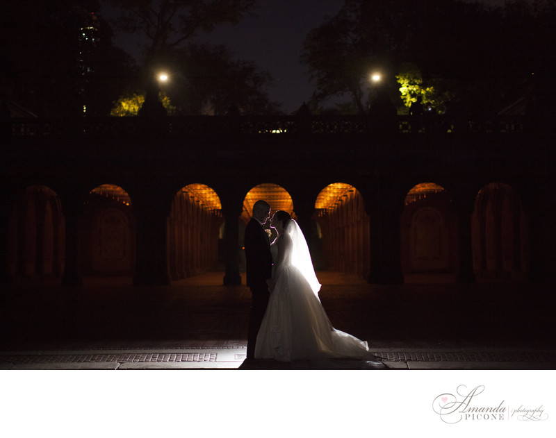 Silhouette of bride and groom at Central Park Bethesda
