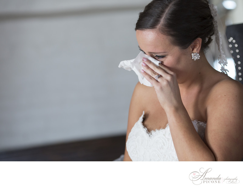Bride cries while reading card from groom in Brooklyn