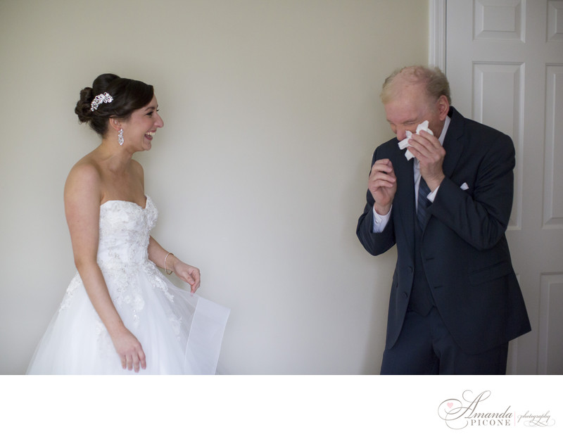 Dad cries as he sees bride daughter for first time