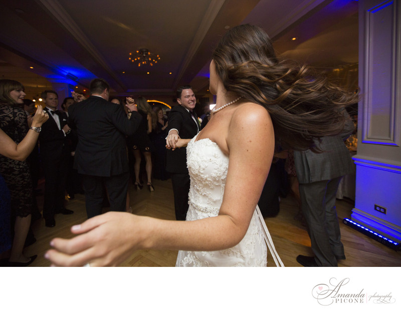 Bride and groom dance during reception Manhattan Penthouse
