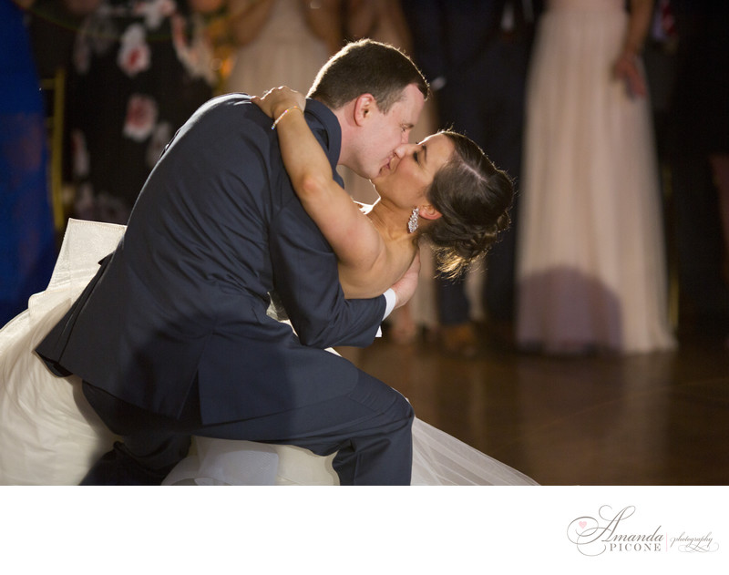 Groom dips bride during first dance The Carltun