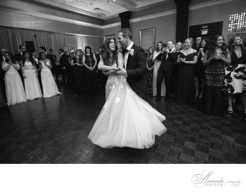 Bride and groom first dance at Temple Sinai