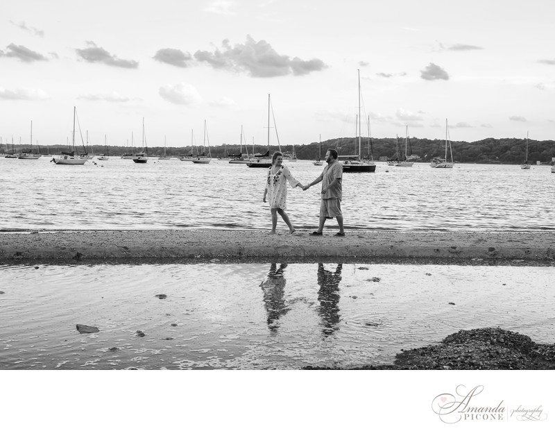 Black and White engagement photography with boats